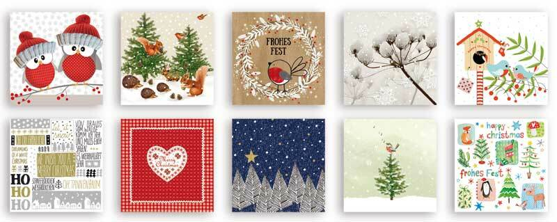 Serviettes, assortiment Hiver & Noël