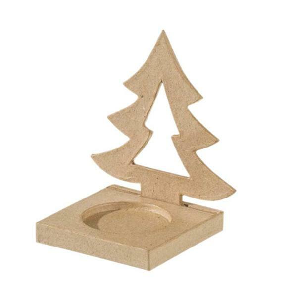 Papier-maché kaarsenhouder, dennenboom