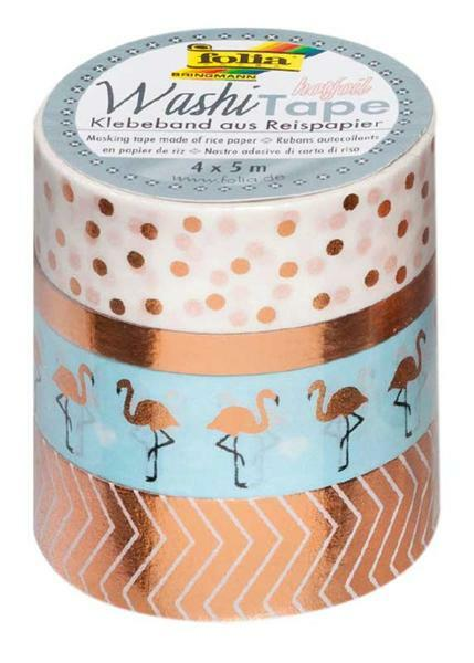 Set Washi Tape - hotfoil, rose doré/fl