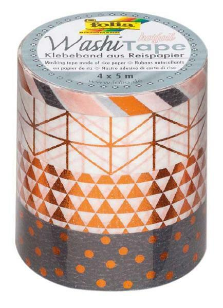 Washi Tape set - hotfoil, koper/patroon