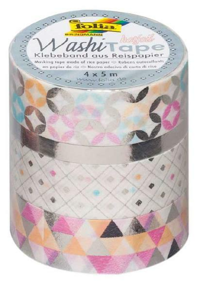 Washi Tape set - hotfoil, zilver/patroon