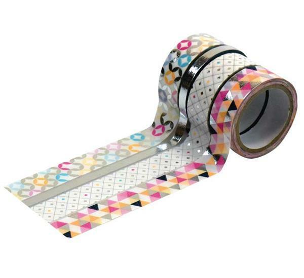 Washi Tape set - hotfoil, zilver/patroon