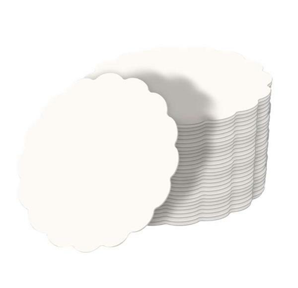 Blanco bierviltjes met golfrand - Ø 10 cm, 100 st.