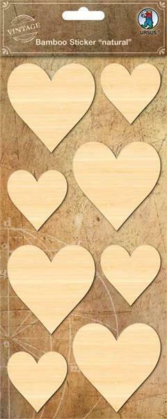 Stickers en bambou - Cœurs