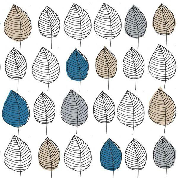 Serviettes - 20 pces, Graphic Leaves, bleu