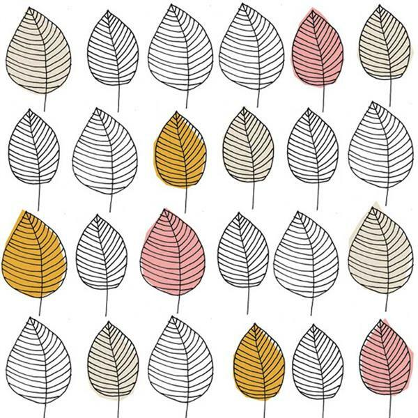 Serviettes - 20 pces, Graphic Leaves, rose