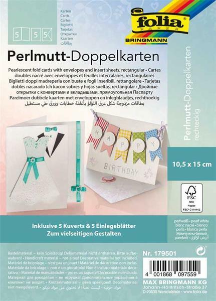 Doppelkarten Perlmutt - perlweiß