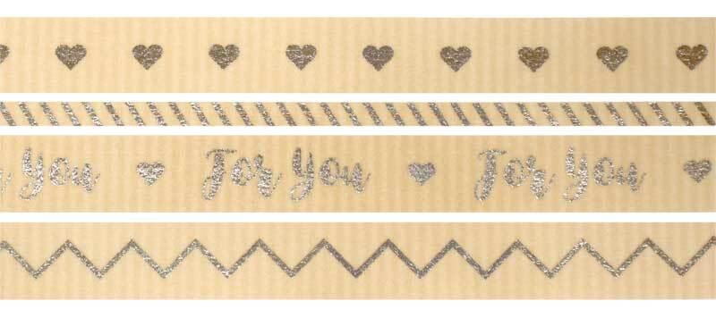 Washi Tape Set - hotfoil, silber/natur