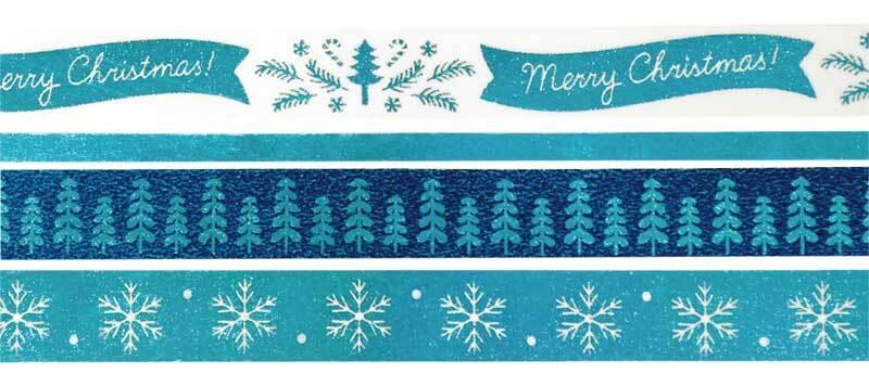 Washi Tape set - hotfoil, ijsblauw-kerst