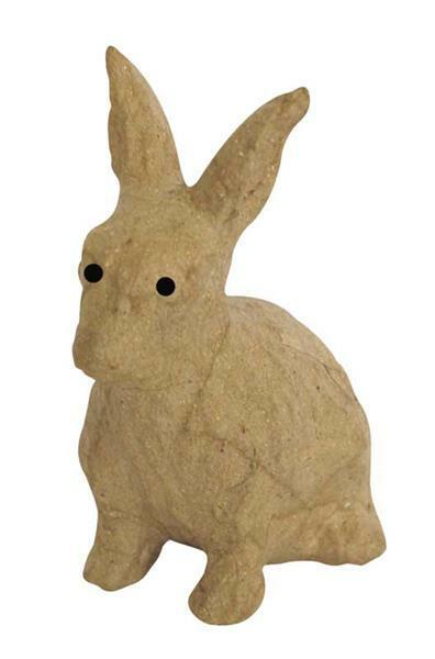 Papier-maché figuur - haas, 14,5 x 18,5 cm