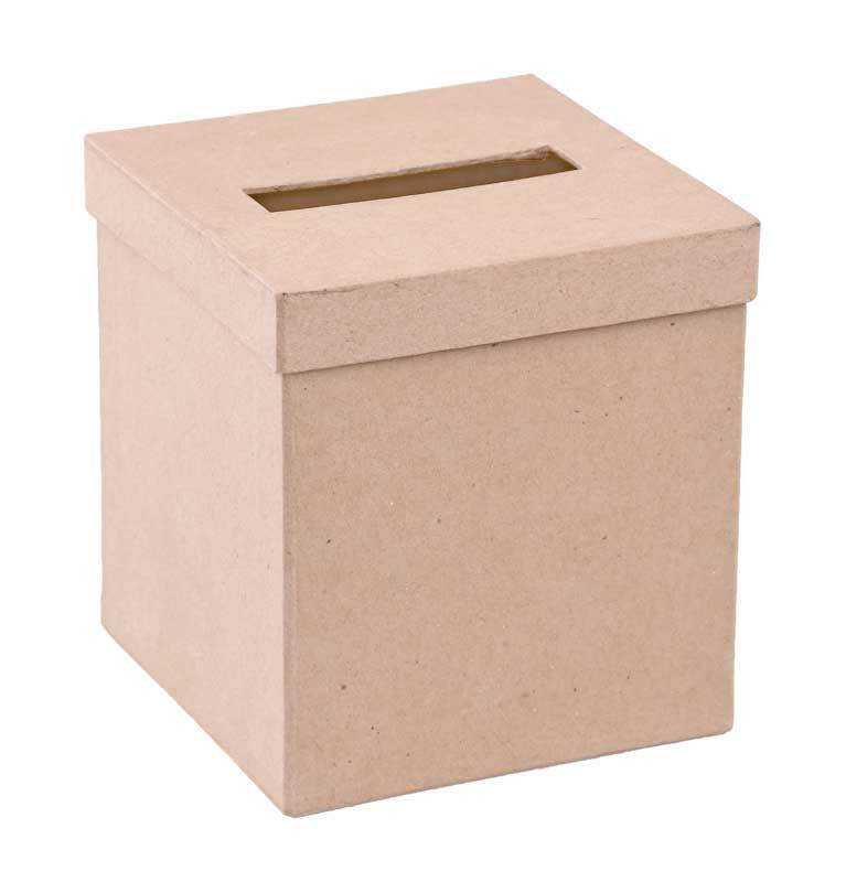Pappmache Kosmetiktuchbox, 12,5 x 13 cm