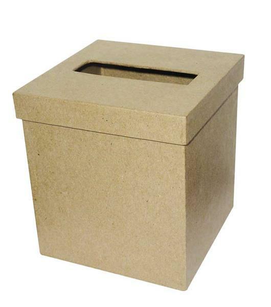 Papier-maché tissuedoos, 12,5 x 13 cm