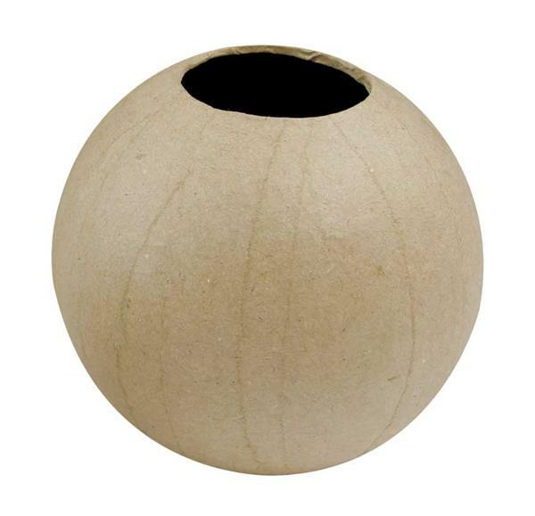 Papier-maché vaas - rond, 11 cm