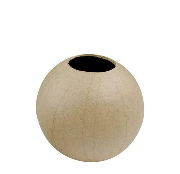 Papier-maché vaas - rond, 8 cm