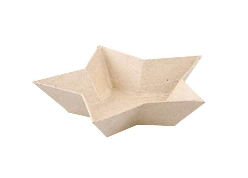Papier-maché schaal - ster, 15 x 15 cm