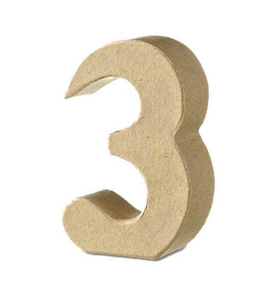 Papier-maché cijfer 3