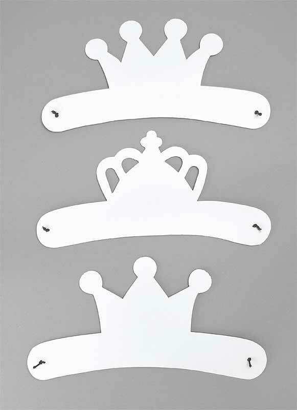 Blanco maskers - kroontjes, 3 stuks