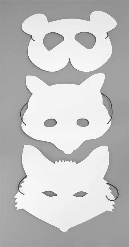 Blanko Masken - Panda/Fuchs/Waschbär