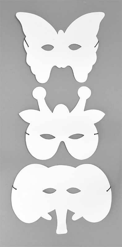 Masques vierges - Eléphant/Girafe/Papillon