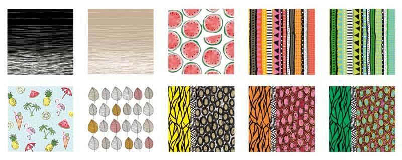 Serviettes, assortiment différents motifs