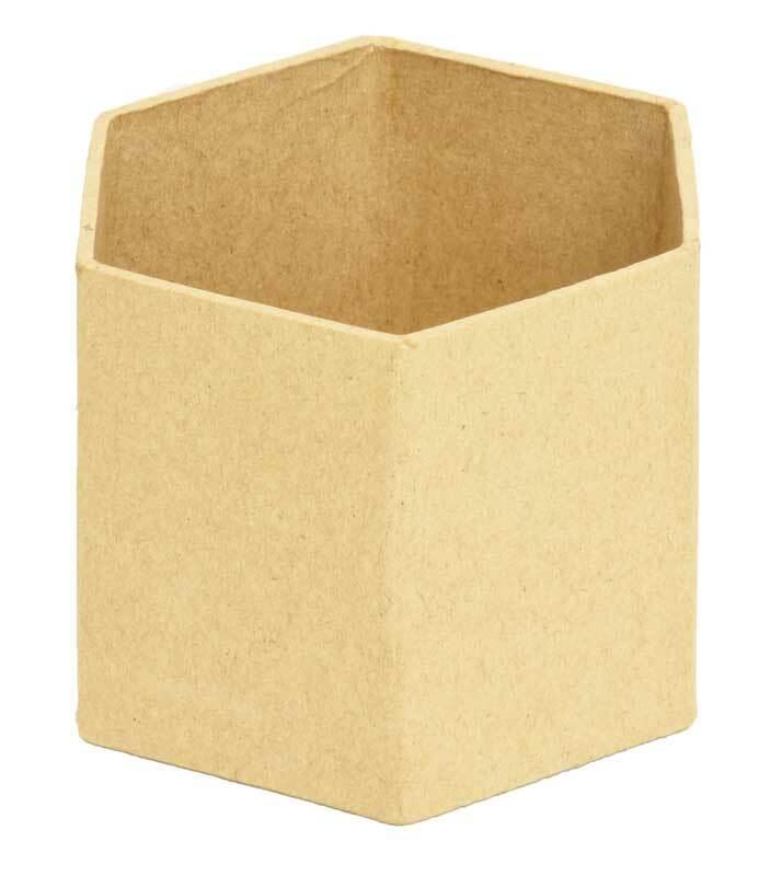 Boîte à crayons en papier mâché, hexagonale