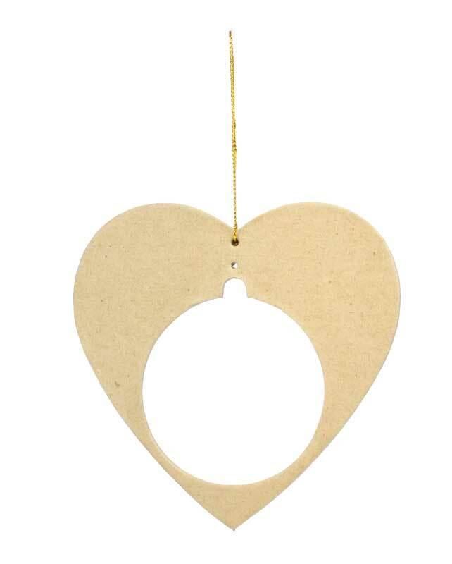 Papier-maché hanger voor kunststof bal, hart