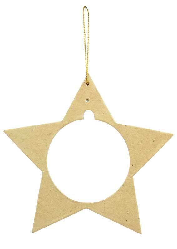 Papier-maché hanger voor kunststof bal, ster
