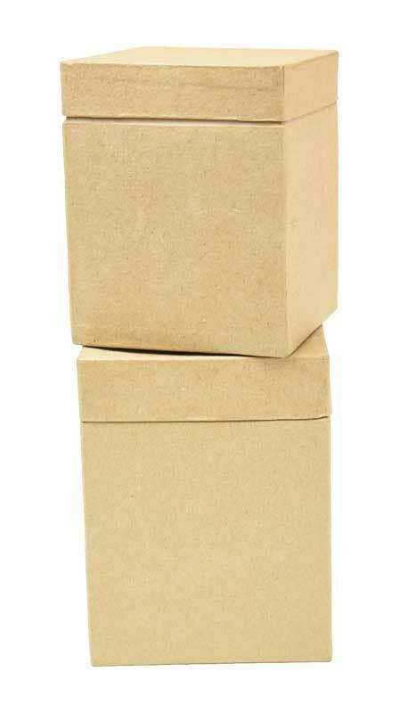 Pappmache Boxen - 2 Stk., 10 + 9 cm