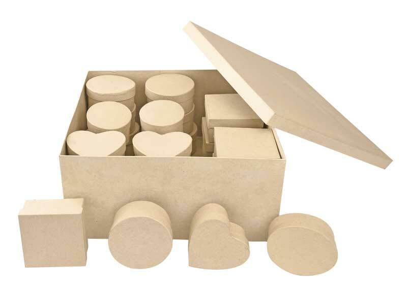 Pappmache Boxen Set, 4 Designs