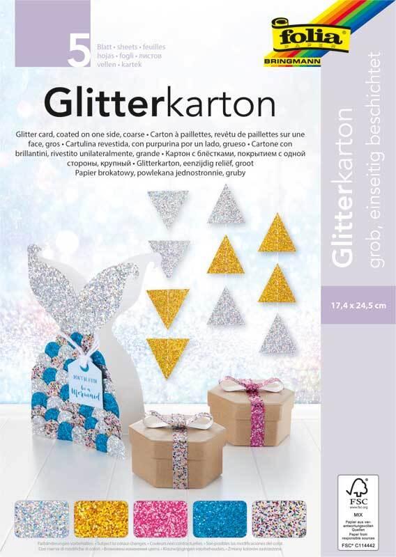 Glitterkarton - 17,5 x 24,5 cm, 5 vel, grof