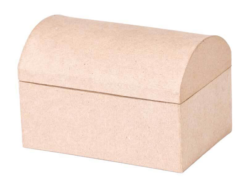 Papier-maché schatkist, 15 x 10 x 10 cm