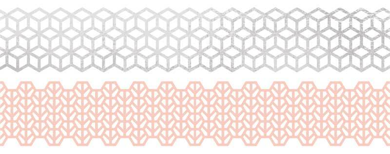 Set Washi Tape - hotfoil, rose/argent