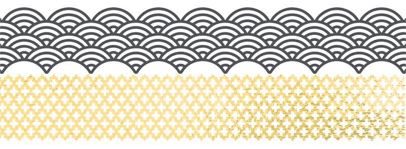 Set Washi Tape - hotfoil, gris/or