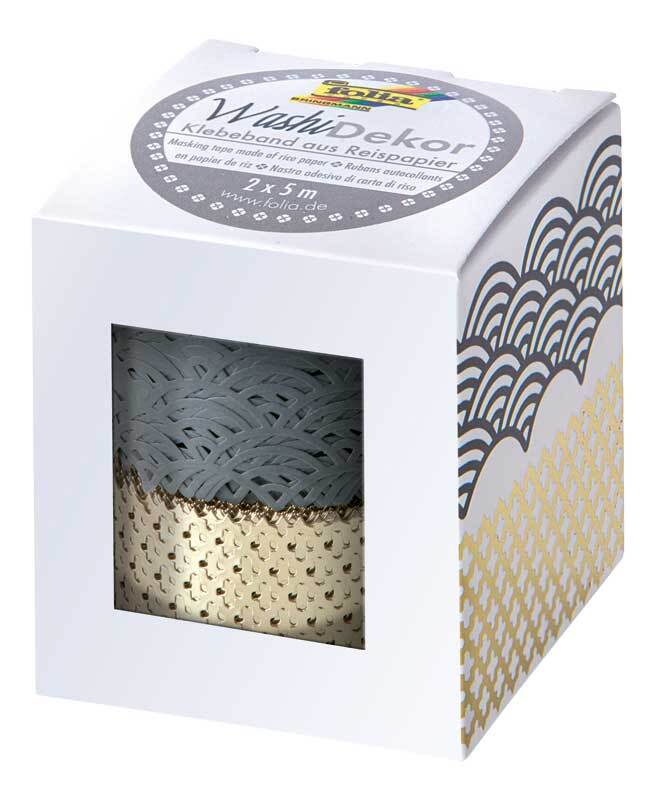 Washi Tape Set - hotfoil, grau/gold