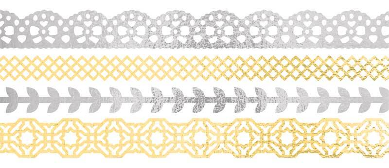 Washi Tape Set - hotfoil, silber/gold
