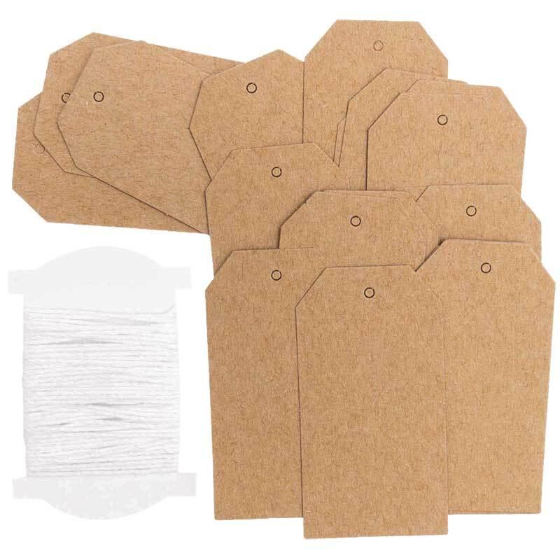 Papieren hangers - 24 st., label, kraftpapier