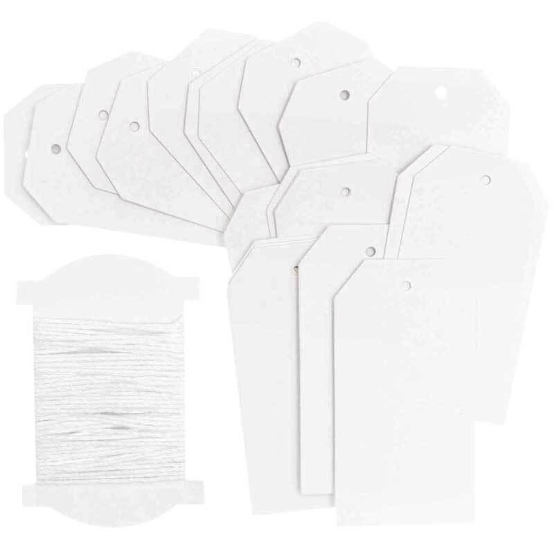 Papieranhänger - Label, weiß, 24 Stk.