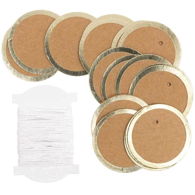 Papieranhänger - Kreis, Kraftpapier, 24 Stk.