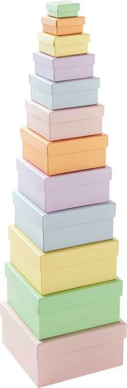 Geschenkdozen vierkant, pastel