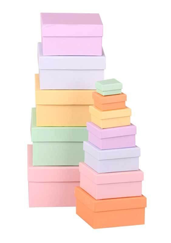 Geschenkboxen eckig, pastell