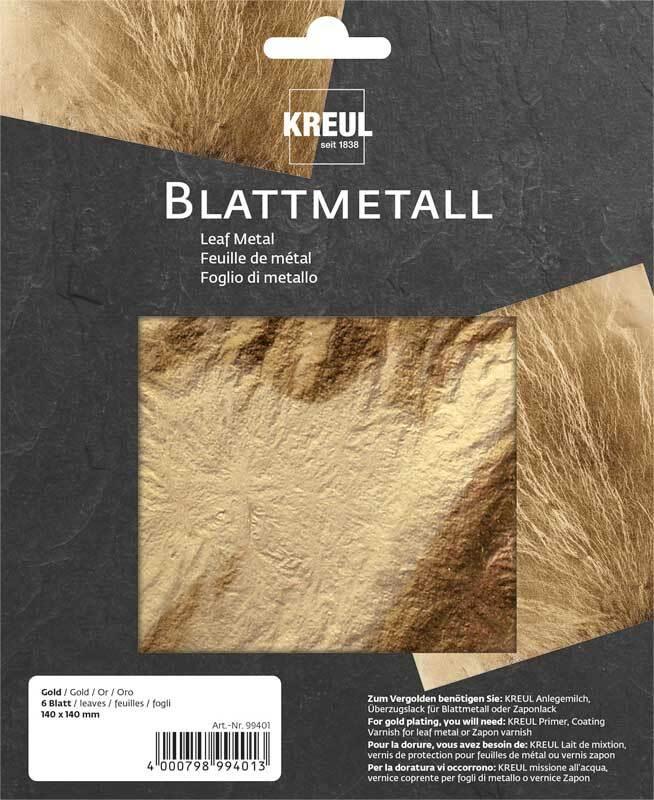 Blattmetall 14 x 14 cm - 6 Blatt, gold