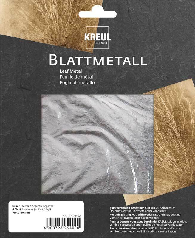 Blattmetall 14 x 14 cm - 6 Blatt, silber