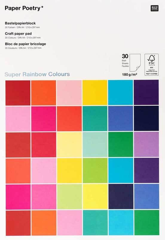 Knutselpapier - 30 vel, A4, rainbow