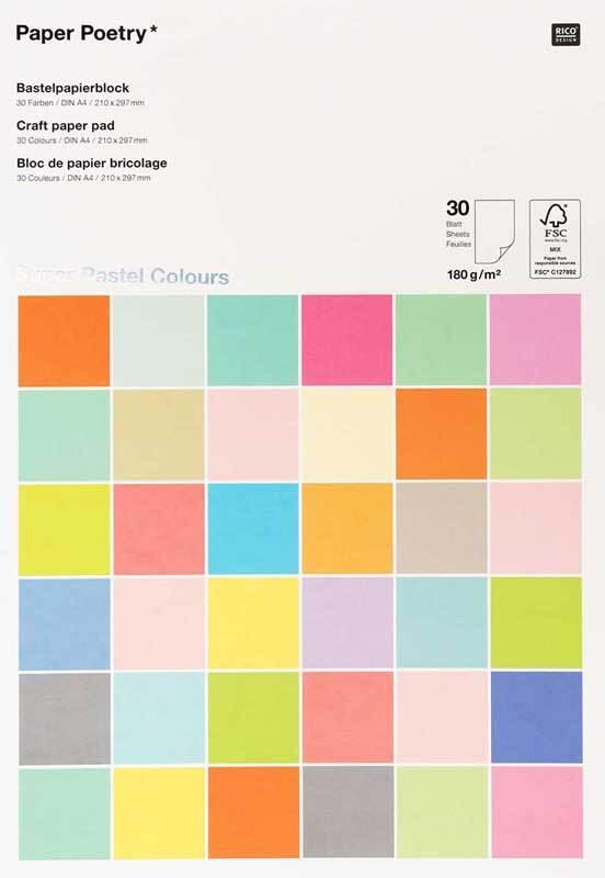 Knutselpapier - 30 vel, A4, pastel