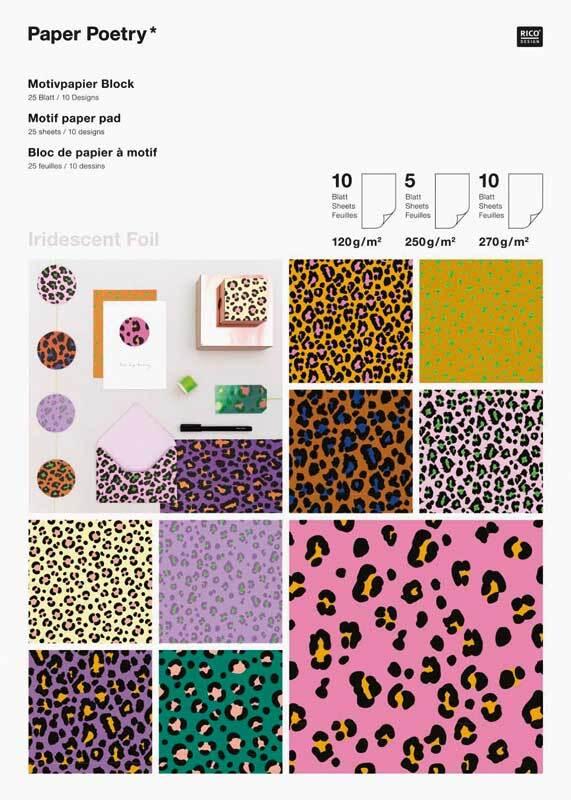 Papierblok, motief - iridescent foil leo, 25 vel