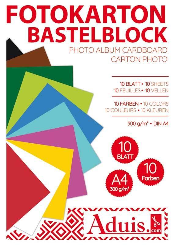 Fotokartonblok - 10 vel, A4, gekleurd