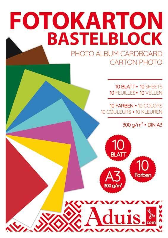 Fotokartonblok - 10 vel, A3, gekleurd