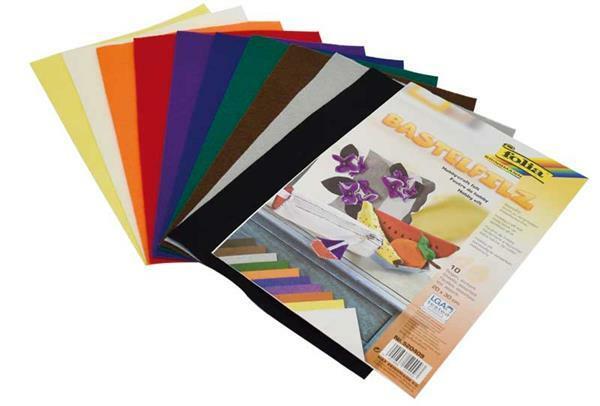 Feutrine - 10 pces, 20 x 30 cm, coloris assortis