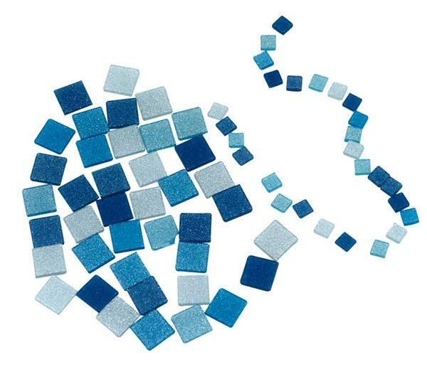 Mosaik Glitter Mix - 5 x 5 mm, blau