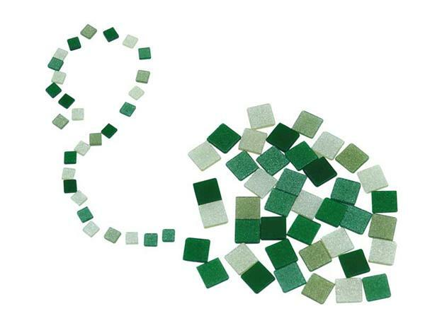 Mozaïek glitter mix - 10 x 10 mm, groen